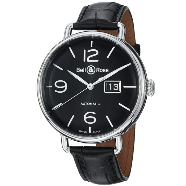 Bell & Ross Men's 'Vintage' Black Dial Leather Strap Automatic Watch