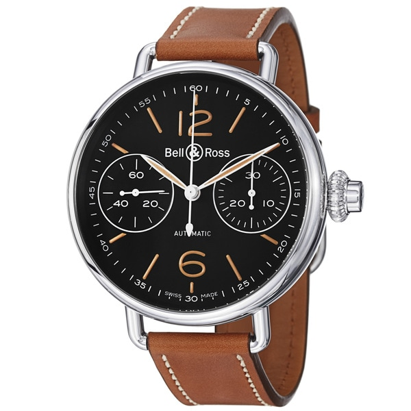 Bell & Ross Men's 'Vintage' Black Dial Brown Leather Strap Watch