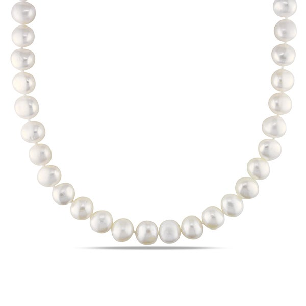 Miadora White 9-10mm Cultured Freshwater Pearl Necklace (18-24 inch)