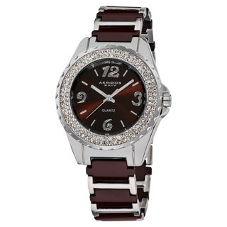 Akribos XXIV Women's Quartz Jewelry-Clasp Crystal Ceramic Brown Bracelet Watch with FREE GIFT