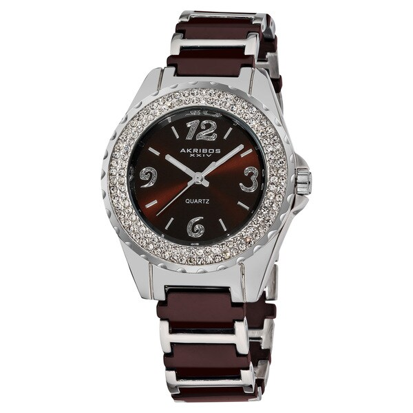 Akribos XXIV Women's Quartz Jewelry-Clasp Crystal Ceramic Brown Bracelet Watch