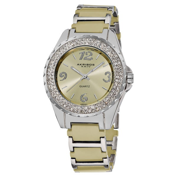 Akribos XXIV Women's Quartz Water-Resistant Mineral-Crystal Ceramic Bracelet Watch with GIFT BOX