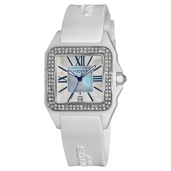 Akribos XXIV Women's Square Ceramic Case and White Rubber Strap Quartz Watch
