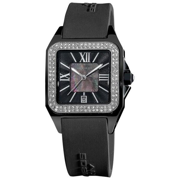 Akribos XXIV Women's Square Ceramic Case and Rubber Black Strap Quartz Watch