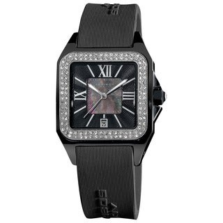 Akribos XXIV Women's Square Ceramic Case and Rubber Black Strap Quartz Watch