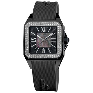 Akribos XXIV Women's Square Ceramic Case and Rubber Black Strap Quartz Watch with FREE Bangle