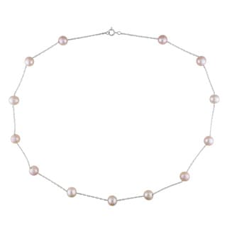 Miadora 10k White Gold Pink Cultured Freshwater Pearl Tin Cup Necklace (7-8 mm)