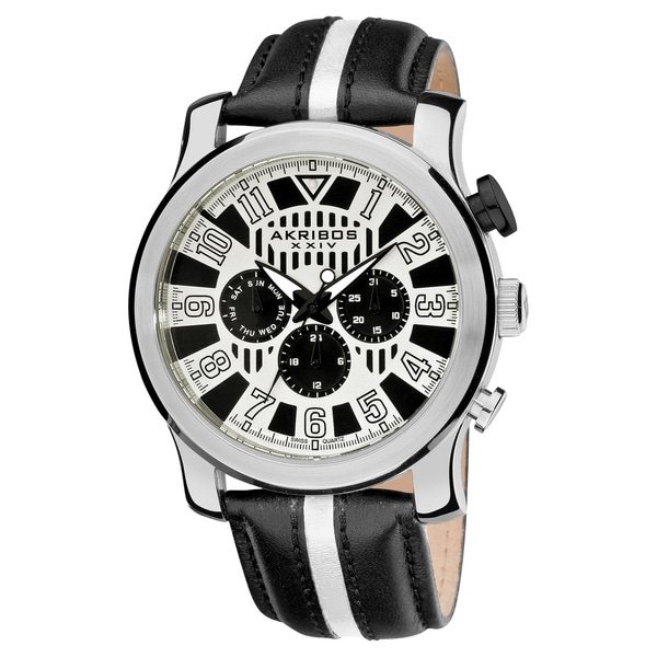Akribos XXIV Men's Stainless Steel Multifunction Sport White Watch