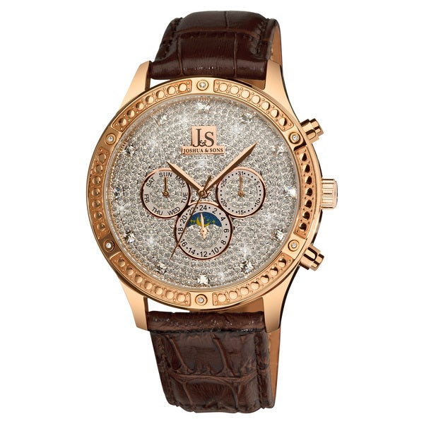 Joshua & Sons Men's Sparkling Mechanical Multifunction Watch with Brown Leather Rose-Tone Strap with FREE GIFT