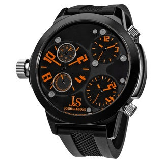 Joshua & Sons Quartz Triple Time Zone Rubber Orange Strap Watch