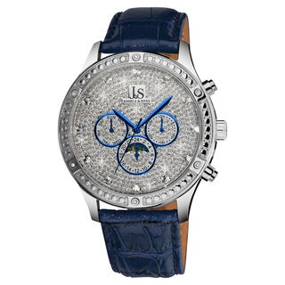 Joshua & Sons Men's Sparkling Mechanical Multifunction Leather-Blue Strap Watch