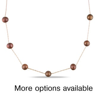 Miadora 10k Rose Gold Brown or Pink Cultured Freshwater Pearl Tin-cup Necklace (7-8 mm)