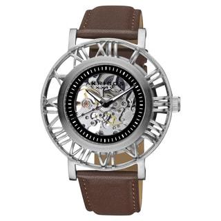 Akribos XXIV Men's Stainless Steel Water-Resistant Automatic Skeleton Silver-Tone Strap Watch