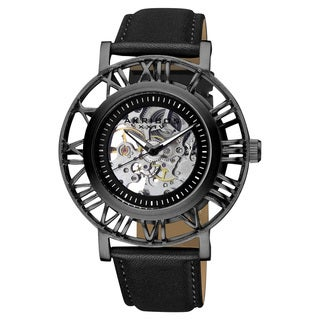Akribos XXIV Men's Stainless Steel Automatic Skeleton Black Strap Watch with FREE GIFT