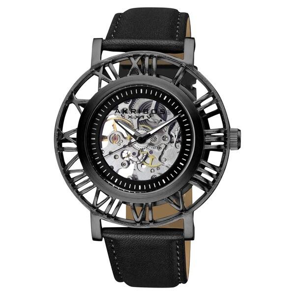 Akribos XXIV Men's Stainless Steel Automatic Skeleton Black Strap Watch