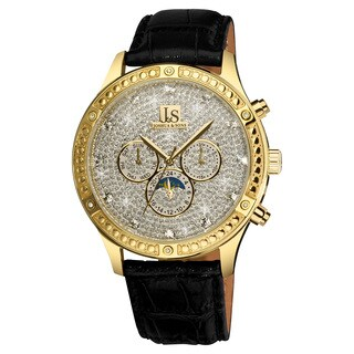 Joshua & Sons Men's Sparkling Mechanical Multifunction Watch with Black Leather Gold-Tone Strap