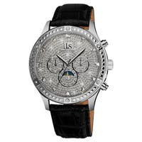 Joshua & Sons Men's Sparkling Mechanical Multifunction Silver-Tone Strap Watch