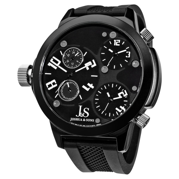 Joshua & Sons Quartz Triple Time Zone Rubber White Strap Watch with Black Dial