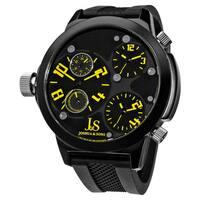 Joshua & Sons Men's Quartz Triple Time Zone Black Rubber Strap Watch