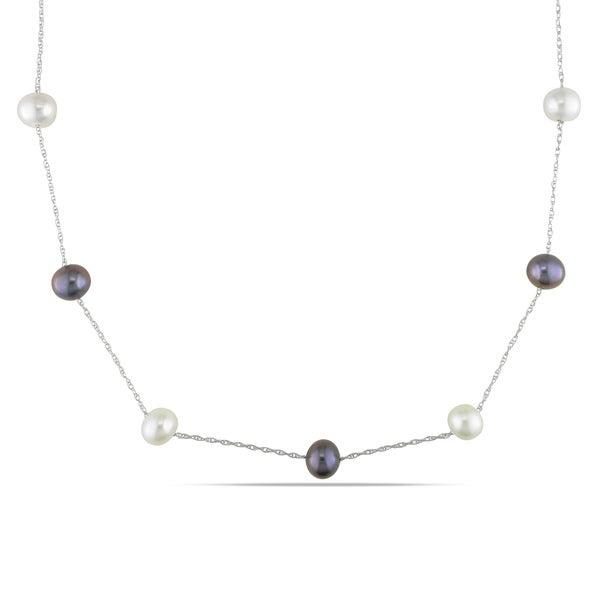 Miadora 10k White Gold Black or White Cultured Freshwater Pearl Tin-cup Necklace (7-8 mm)