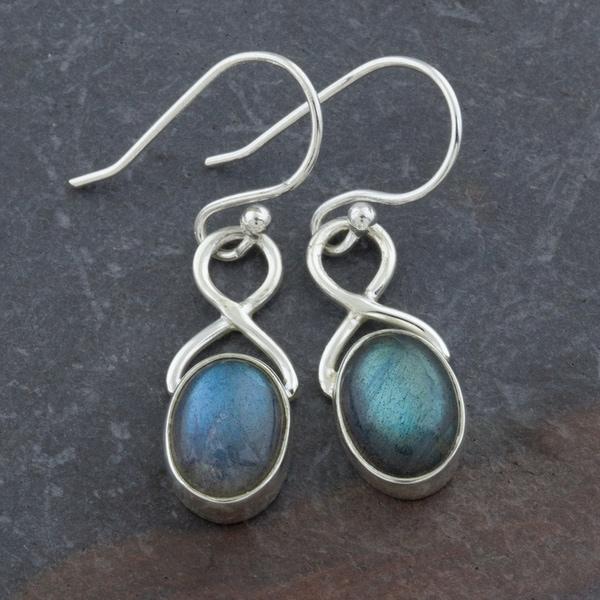 Labradorite Sterling Silver Oval Dangle Earrings (India)