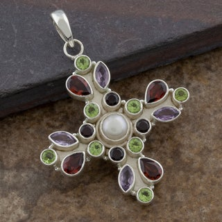 Handmade Multi Colored Gemstones Sterling Silver Floral Pendant (India)