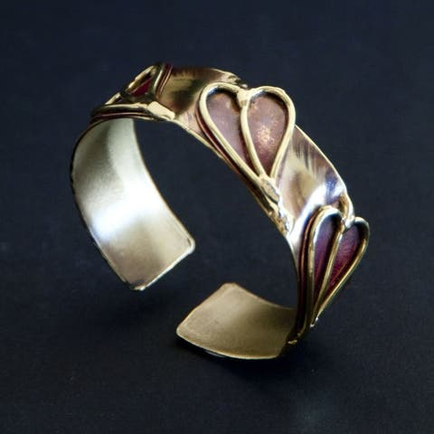 Handmade Brass and Copper 'Three Hearts' Cuff (South Africa)