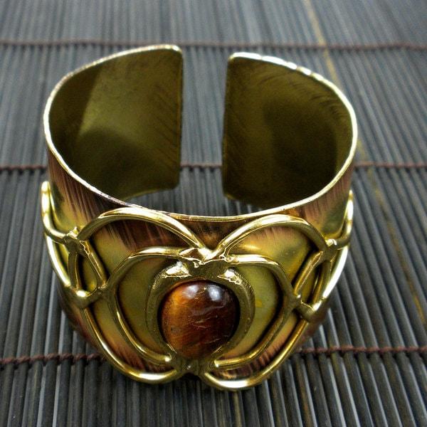 Handmade Brass Tiger Eye Bloom Cuff (South Africa)