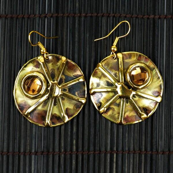 Handmade Brass Topaz Sunburst Earrings