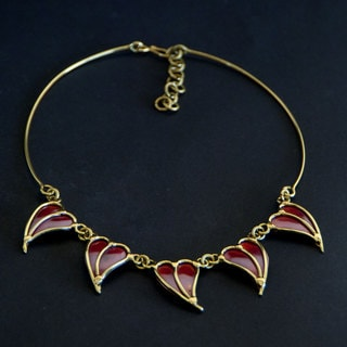 Handmade Brass and Copper Hearts Necklace (South Africa)