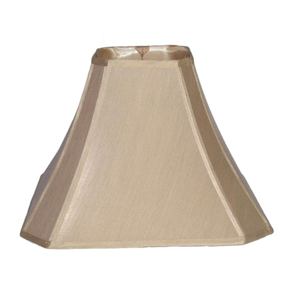 Crown Lighting French Beige Cut Corner Silk Square Lampshade