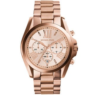 michael kors jewelry outlet online 8g2w  Michael Kors Women's 'Bradshaw' Rose-tone Chronograph
