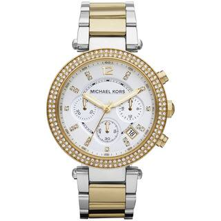 Michael Kors Women's MK5626 'Parker' Two-Tone Chronograph Watch|https://ak1.ostkcdn.com/images/products/7463547/P14912224.jpg?impolicy=medium