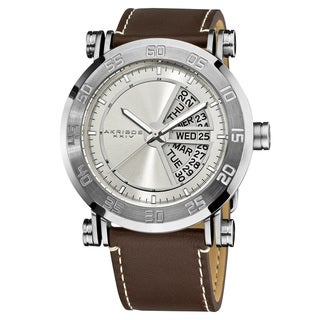 Akribos XXIV Men's Silvertone Stainless Steel Quartz Day and Date Strap Watch with FREE GIFT