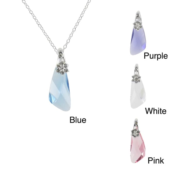 Sunstone Sterling Silver Faceted Wing Necklace Made with SWAROVSKI ELEMENTS