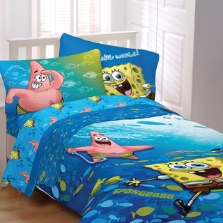 spongebob bedroom set spongebob fish swirl 4 bed in a bag with sheet set 13381