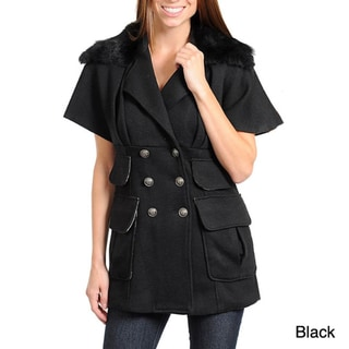 Stanzino Women's Double Collar with Faux Fur Short Sleeve Wool Blend Jacket