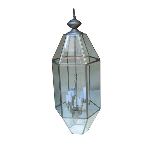Clear Beveled Glass 6-light Satin Nickel Pendant
