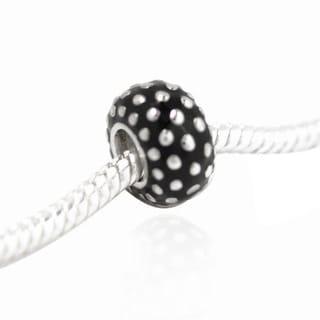 De Buman Sterling Silver Enamel Dot Charm Bead