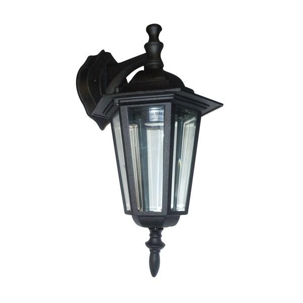 Clear Beveled Glass 1-light Black Outdoor Wall Lantern
