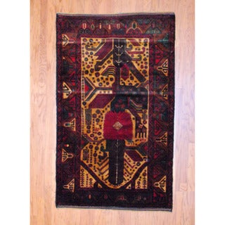 Herat Oriental Afghan Hand-knotted Balouchi Gold/ Red Wool Rug (4' x 6'8)