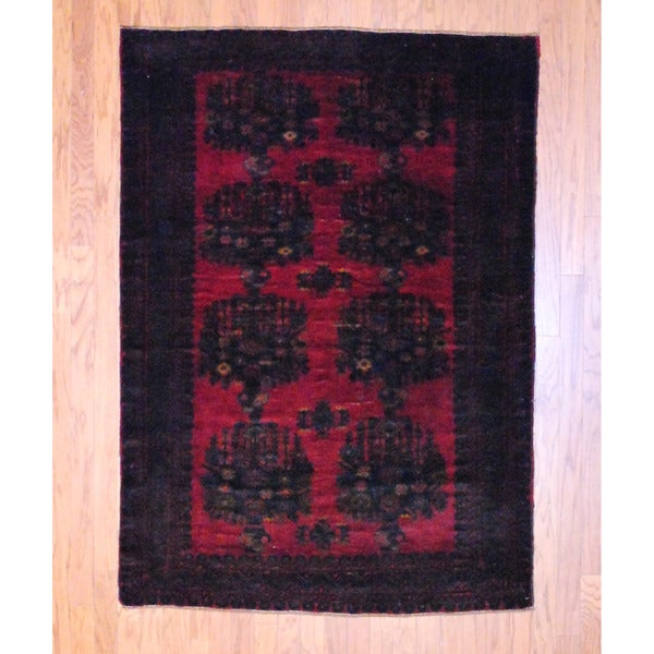 Herat Oriental Afghan Hand-knotted Balouchi Burgundy/ Black Wool Rug (4'6 x 6'5)