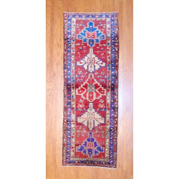 Persian Hand-knotted 1950's Hamadan Red/ Navy Wool Runner (3'7 x 9'11)