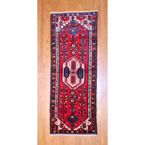 Persian Hand-knotted 1970's Hamadan Red/ Black Wool Runner (3'7 x 9'6)