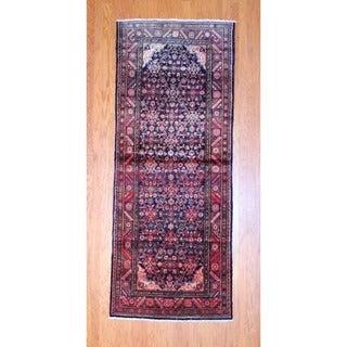 Herat Oriental Persian Hand-knotted 1950s Hamadan Black/ Rust Wool Runner (3'8 x 9'3)