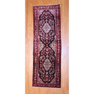 Herat Oriental Persian Hand-knotted 1960s Semi-antique Hamadan Wool Runner (3'7 x 10'8)