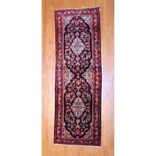 Herat Oriental Persian Hand-knotted 1960s Hamadan Black/ Red Wool Runner (3'7 x 10'8)