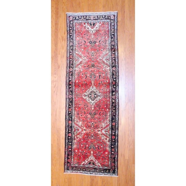 Persian Hand-knotted 1960's Hamadan Rust/ Ivory Wool Runner (3'6 x 10'9)