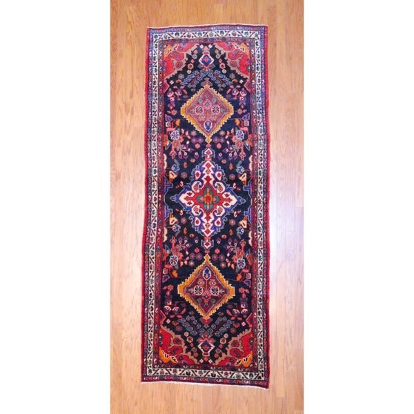 Persian Hand-knotted 1960's Hamadan Navy/ Red Wool Runner (3'6 x 9'11)