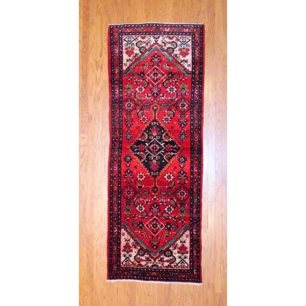 Persian Hand-knotted 1970's Hamadan Red/ Black Wool Runner (3'3 x 9'2)
